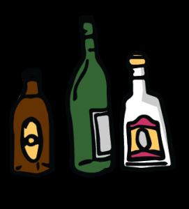 Flaschen mit Alkohol.