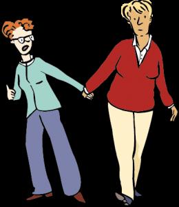 Eine Frau zieht eine andere Frau an der Hand. Fremdbestimmung.