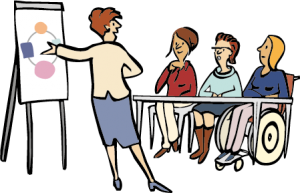 Frauen besuchen einen Kurs.